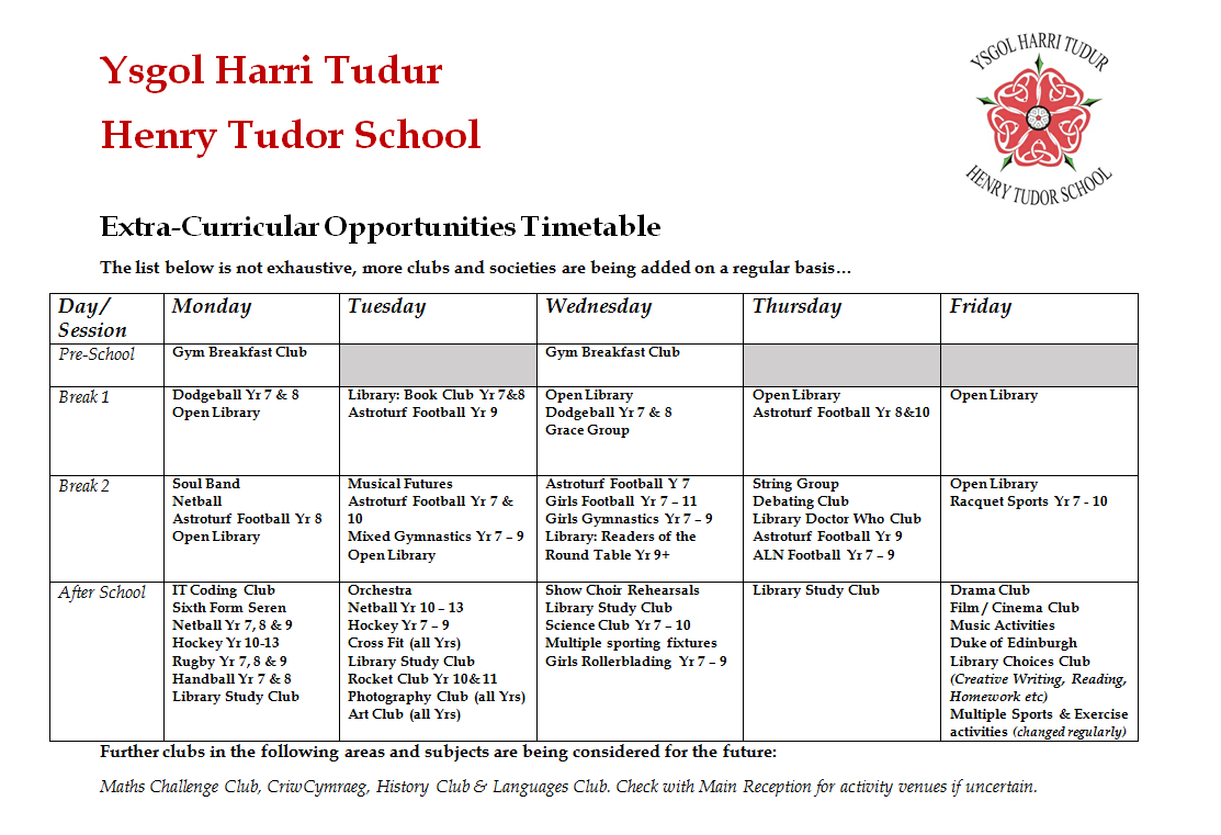 Extra-Curricular Opportunities Timetable