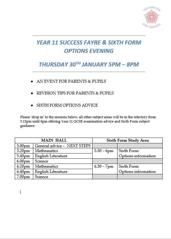 Y11 Success Fayre & Sixth Form Options Event