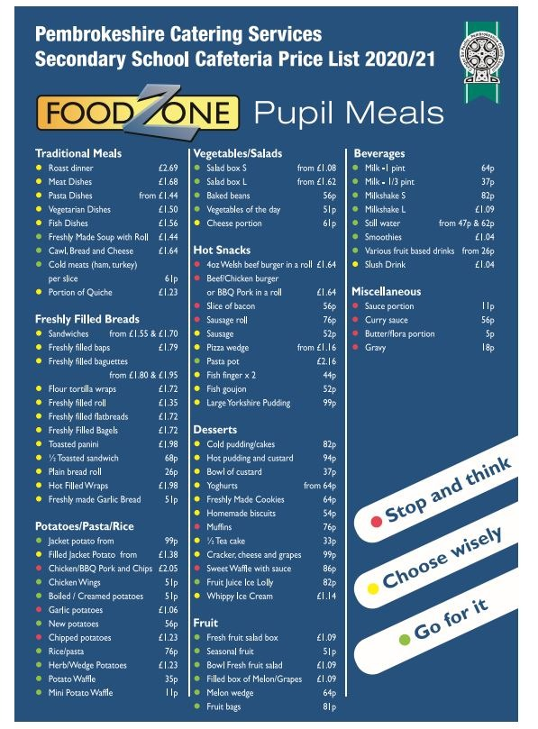 PCC Catering Price List Secondary
